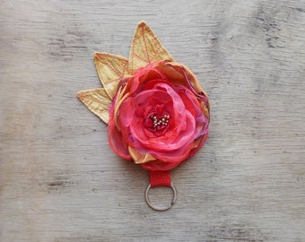 Personalized Bridesmaid Gift Handmade Coral And Copper Flower Key Ring Customizable Bridesmaid Gift Women's Accessory Bag Charm