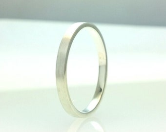 Sterling Silver Flat Wedding Band Brushed Finish 2mm Stacking Ring Stackable Rings 2mm All Us Sizes