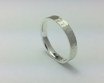 Flat Wedding Band 4mm hammered Sagre Silver 980,Mens Wedding Band,Comfort Fit,Tungsten Ring,Anniversary,All US Sizes