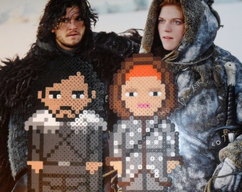 GAME THRONES Jon SNOW & Ygritte Perler Bead Magnets. So cold and chibi!