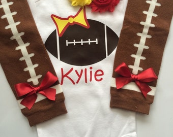 Baby Girl Football Outfit - personalized baby girl outfit - Kansas City Chiefs baby outfit - girly football outfit- Yellow and red