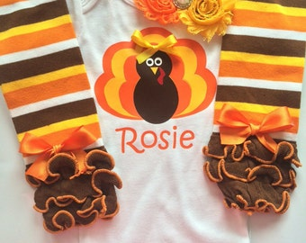 BABY girl Thanksgiving outfit - personalized baby - turkey shirt - thanksgiving legwarmers - fall baby girl outfit - thanksgiving headband