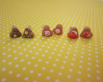 Waffle earrings, food jewelry, mini, tiny, heart studs, post, set, polymer clay