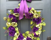 RESERVED Purple and Green Wreath, Spring Door Wreaths, Cabbage Roses, Purple Ribbon, Hanging Wreaths, Summer Door Wreath