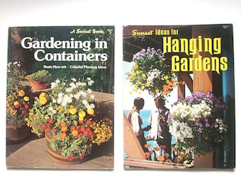 vintage sunset books, gardening book, planters, making planters, macrame hangers, plants, set of two