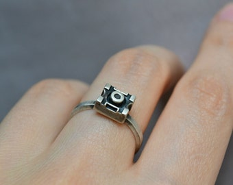 Geeky Nerdy Futuristic Tiny Ring - 925 Sterling Silver Geekery Ring - Steampunk Cyberpunk Transformers Jewelry