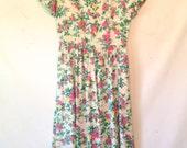 vintage 80s dress / floral garden party dress / medium vintage dress / pink floral dress / open back dress / 80s vintage dress / 1980s dress