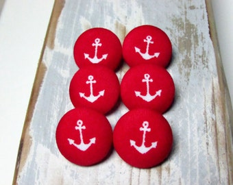 Fabric Buttons - 6 Medium Buttons - Red Anchor Fabric Covered Buttons - Red Marine Sew buttons - DIY projects - Anker buttons