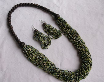 Handmade Wooden and Green Seed Bead Necklace and Earrings