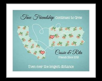 Best friend true friendship gift, bridesmaid, childhood friends farewell gift, friend moving away distance friendship quote, state map art