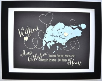 Gift for Aunt Or Uncle Personalized Gift For Niece Nephew Family Maps Custom Art Print Mothers Day Gifts for Aunt Auntie Tia Tio Uncle Gift
