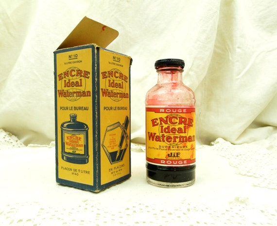 Antique French Waterman Red Ink Bottle with Original Box 1/5th Full / Encre Ideal Waterman / 1/4 Liter Glass Bottle  Desk / Writing / France