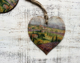 1 heart ornament rustic cottage chic shabby chic kitchen decor Provence France lavender field