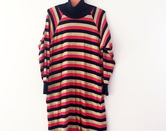 Original Marimekko long sleeved vintage dress 1960/70s / Striped pink/blue/beige, Size Medium