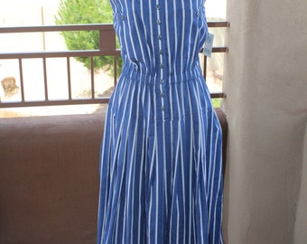 TOGETHER Blue and White Stripe Sleeveless Backless Tank Dress SZ12-New with tag