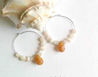 Sandstone Shell Silver Hoop Earrings, Handmade
