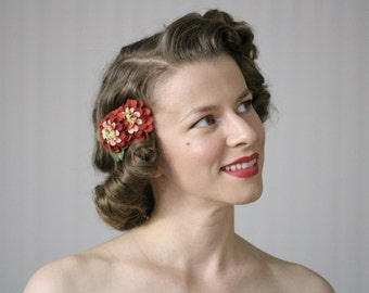 "Burnt Red Flower Clip, Hair Accessory, Small Marigold Fascinator, 1940s 1950s Floral Hairpiece, Vintage Headpiece - ""A-Tisket, A-Tasket"""