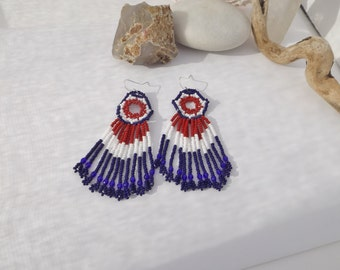4th July Patriotic Handwoven Fringe Seed Bead Earrings Red, White, Blue, Southwestern, Native American Style, Veteran's Day, Memorial Day