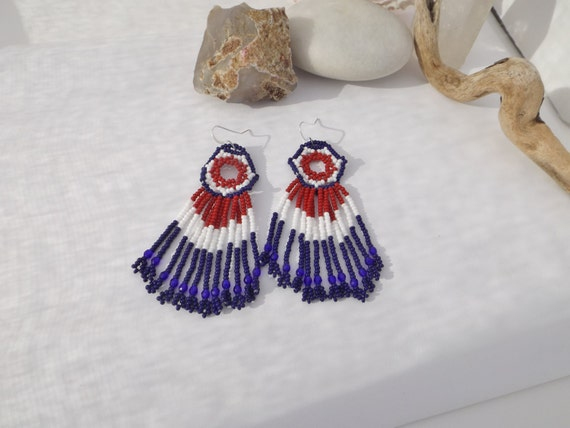 Patriotic Red, White and Blue Seed Bead Drop, Dangle Earrings with Glass Beads On Fringe for the 4th of July, Veteran's Day, Memorial Day