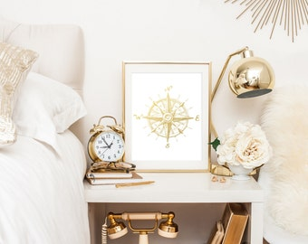 Nautical Compass Gold Foil Print, The Golden Compass Print, Poster, Beach House Decor, Nautical Decor, Nautical Wall Art