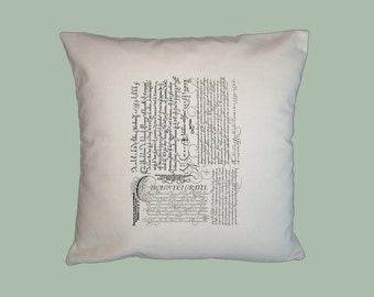 Italian Vintage Writing Collage Typography Handmade 16x16 Pillow Cover--Choice of fabric -  image in ANY COLOR