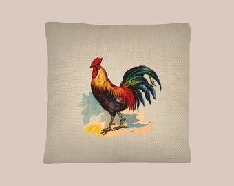 Colorful Vintage Rooster Chicken Illustration Handmade 16x16 Pillow Cover - Choice of Fabric