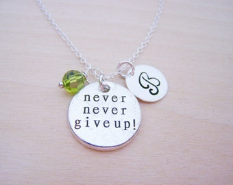 Never Give Up Charm Necklace -  Swarovski Birthstone Initial Personalized Sterling Silver Necklace / Gift for Her - Strength Necklace