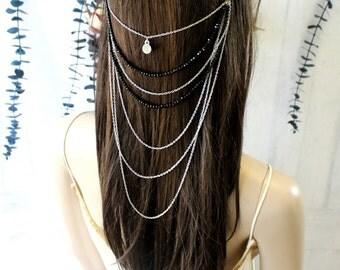 Hair Jewelry,  Boho Head Chain, Silver Headpiece, Festival Hair Accessories
