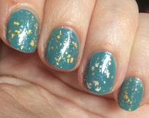 My Precious Nail Polish - real gold leaf and rainbow flakie top coat