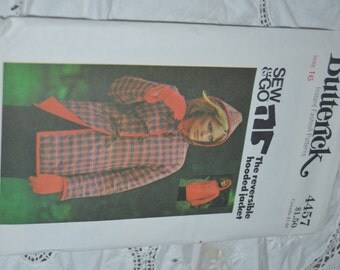Vintage 70s Butterick 4457  Misses Reversible Jacket Sewing Pattern - UNCUT Size 8 or Size 16