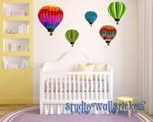 Hot Air Balloons Wall Decal REUSABLE Wall DECAL Fabric Decal Eco-friendly NO Pvcs No toxins