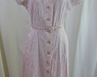 Vintage 50s Pink Embroidered Circles & Dots Dress