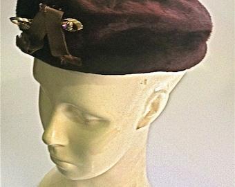 Beaver Fur Beret Hat, Dajon New York, Brigette, Italy, c1950, Movie Prop, Costume Jewelry, Fashion, Costume