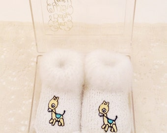 Vintage White Infant/Baby Booties with Giraffe: 1960's