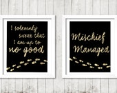 """Harry Potter Marauder's Map Quote """"I solemnly swear that I am up to no good. Mischief managed."""" Digital Print"""
