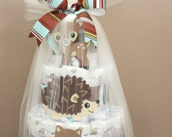 Woodland-themed diaper cake, baby shower centerpiece or gift