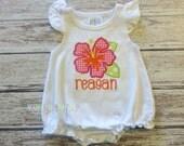 Girls Hibiscus Flower Appliqued Shirt - Embroidered, Personalized, Monogram, Girls Summer Shirt, Summer, Flower Shirt, Hawaiian Shirt
