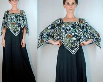 Vintage 70s Butterfly Print Angel Wing Sleeve Black Maxi Dress. Apron Hanky Hem Full Skirt Draped party gown. Boho festival hippie. Small