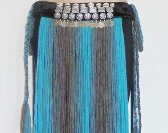 handmade one size one of a kind light blue with gray tribal fusion bellydance belt with coins, gillets, buttons and cowry shells