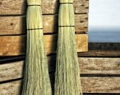 Rustic Wedding Broom - Natural Branch Handle Besom - Traditional Round Sewn Broom