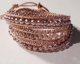 Beaded Women's Wrap Bracelet, Leather Wrap Bracelet, Tan Bracelet, Pearl Leather Bracelet, Tan Leather Wrap Bracelet, Compare to Chan Lu