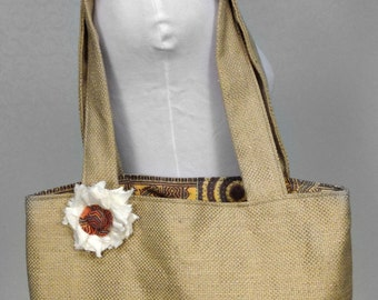Burlap Look Tote / Purse