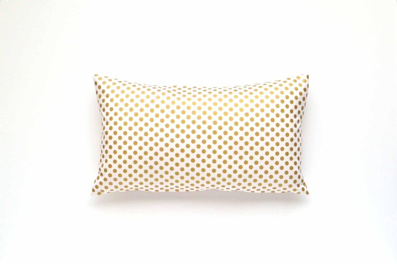 Decorative Gold Polka Dot Lumbar Pillow Cover - 15 x 15 - Gold ...