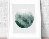 Minimalist print, Geometric art, Circle print, Nordic style, Green color print, Home art, Modern art, Minimal art