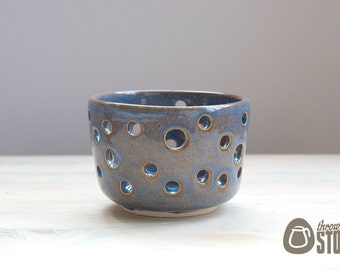 Tea Light Holder - Lustrous Blue Candle Holder - Handmade Stoneware Pottery