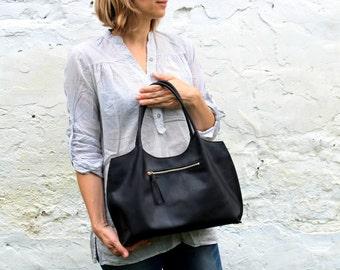Black leather shoulder bag, leather bag, leather handbag, black bag, tote bag FREE SHIPPING