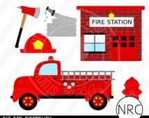 SALE Firefigher Firetruck Fireman Clip Art - Red Fire Station Hydrant Ax Water Hose Clip Art, Commercial Use - NRCDesignStudio