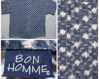 Vintage Retro Men's Bon Homme Made in the USA Blue White Print Buttonup Short Sleeve Shirt Large