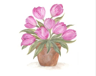 Original Watercolor Clay Pot Series, Pink Tulip Original Watercolor Print, Watercolor, Pink Tulip Painting,