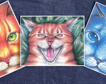 Warriors Cats Firestar Bluestar Tigerclaw Print Set